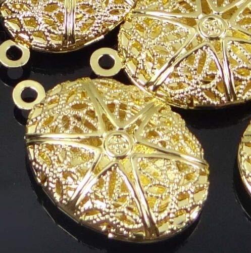 (5 Chamrs) 24x16mm Gold Plated Filigree Hollow Locket Oval Pendants