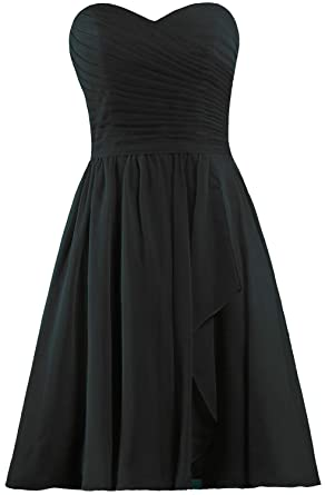 7ed430431135 ANTS Women's Sweetheart Short Bridesmaid Dresses Chiffon Wedding Party Dress  Size 2 US Black