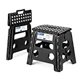 Acko 2PACK Folding Step Stool - 13 inch Height Premium Heavy Duty Foldable Stool for Kids & Adults, Kitchen Garden Bathroom Stepping Stool (Black, 2PACK)