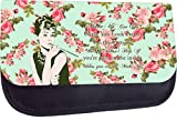 'Make-Up Can Only Make You Look Pretty...'-Audrey Hepburn Vintage Roses Style Quote-Rosie Parker TM Medium Sized Cosmetic Case-Made in the U.S.A.