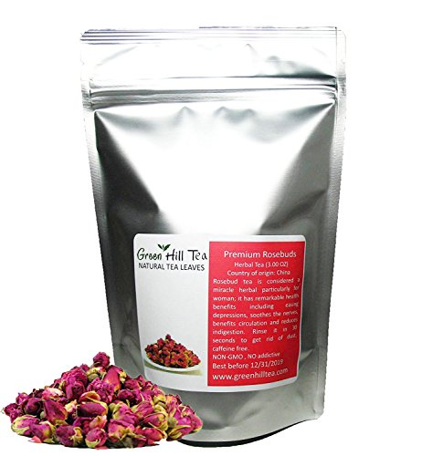 Greenhilltea Premium Dried Rose Buds Rosebud Flower Herb Loose Leaf Tea Fragrant Natural Healthy Herbal Tea 3 OZ (Herbs Flowers Dried)