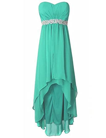 Cdress High Low Bridesmaid Dresses Chiffon Sweetheart Evening Dress Beaded Party Gowns US 2