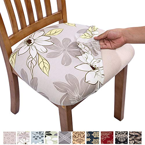 Comqualife Stretch Printed Dining Chair Seat Covers, Removable Washable Anti-Dust Upholstered Chair Seat Cover for Dining Room, Kitchen, Office (Set of 6, Grey Flower)