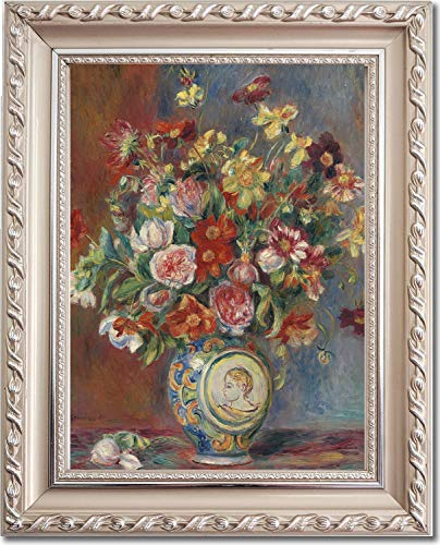 Ori Gallery Framed Canvas Print - Vase of Flowers - by Pierre Auguste Renoir