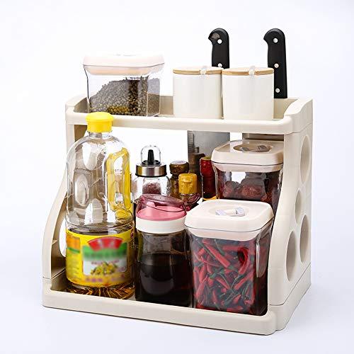 Shelf Storage Racks Storage Basket Shelf Baskets Cupboard Organizers Kitchen Seasoning Storage Rack Plastic Landing Tool Holder ZHAOYONGLI (Color : Beige) by ZHAOYONGLI-shounajia (Image #2)