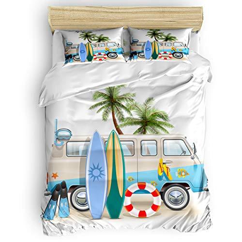Flip Flop Beds - Queen Beding Duvet Cover Sets 4 Pieces Comforter Cover Set,Beach Tour Bus Lifebuoy Surfboard Diving Mask Flip Flops Bed Sheet Set for Girls Boys,Include 1 Comforter Cover 1 Bed Sheets 2 Pillow Cases