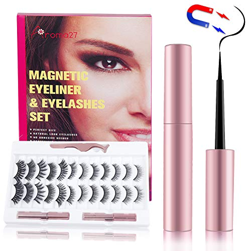 Magnetic Eyelashes with Eyeliner Kit, Reusable Magnetic Lashes Set with 2 Tubes Magnetic Eyeliner, Natural Vivid Eyelashes, No Need Glue, Eyelashes& Eyeliner Kit with Tweezer
