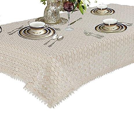 Violet Linen Botany Vintage Crochet Lace Design Oblong/Rectangle Tablecloth,  70u0026quot; X 120u0026quot