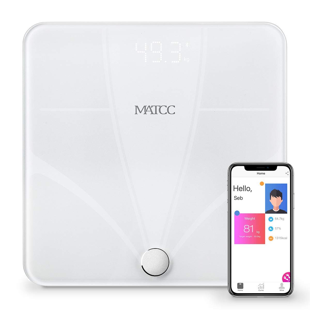 MATCC Bluetooth Body Fat Scales Digital Bathroom Weight Scale for High Precision Body Composition Measurement ITO Technology Smart BMI Scales with APP 396lbs White