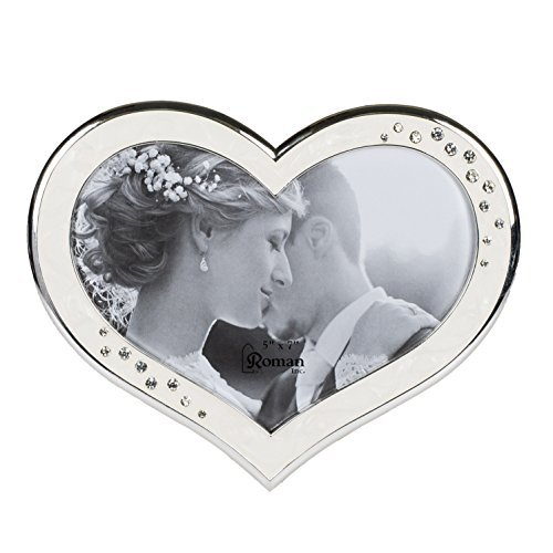 Clustered Rhinestones Heart Shaped 6.5 x 8 inch Zinc Alloy Table Top Photo Frame,Ivory