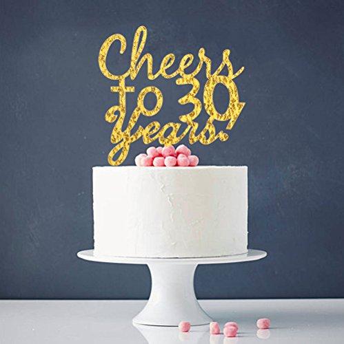 INNORU ™ Cheers to 30 Years Cake Topper -30th Birthday ,Anniversary Cake Bunting Party Decoration Sign (Happy Birthday Cake 23)