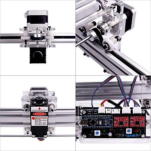 MYSWEETY DIY CNC Laser Engraver Kits, 40x50cm 2500mW Wood Carving Engraving Cutting Machine Desktop Printer Logo Picture Marking, 2 Axis by MYSWEETY (Image #3)