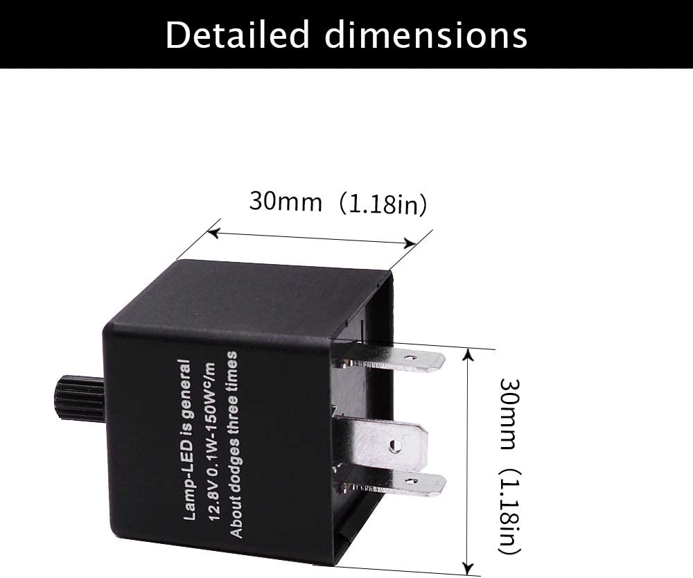 HUIQIAODS 12V 2Pin Motorcycle Electronic Turn Signal Flasher Relay Fix Motorcycle Turn Signal Hyper Flash