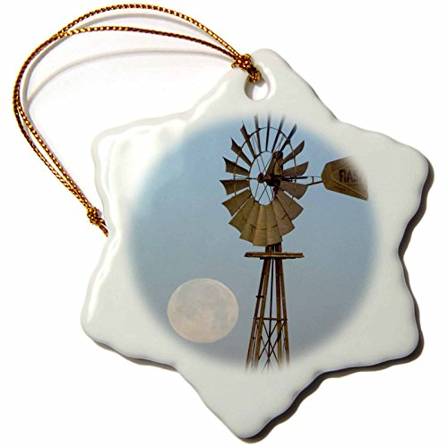 3dRose orn_84364_1 Windmill at Sunrise, Full Moon, Panhandle, Texas-Na02 Rnu0285-Rolf Nussbaumer-Snowflake Ornament, 3-Inch, - Wind Ornament Moon