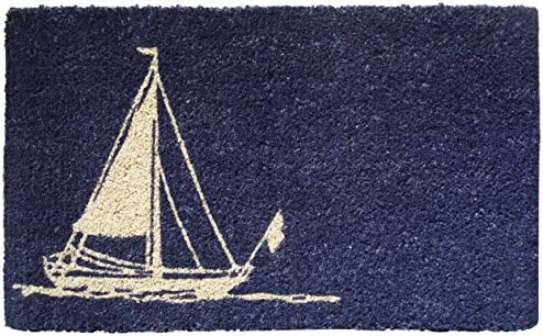 Entryways Sailboat Handmade, Hand-Stenciled, All-Natural Coconut Fiber Coir Doormat, 18 X 30 X .75