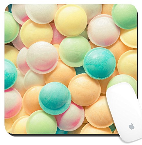 Luxlady Suqare Mousepad 8x8 Inch Mouse Pads/Mat design IMAGE ID: 20280985 Background texture made of many round candies in colorful pink orange yellow and green - 187 Round Green