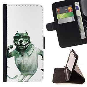 "For Samsung Galaxy S6 Edge Plus / S6 Edge+ G928,S-type Cantante Gafas de sol Pit-Bull divertido"" - Dibujo PU billetera de cuero Funda Case Caso de la piel de la bolsa protectora"
