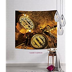 sophiehome Tapestries43127104 Two antique brass compasses shot on textured background hanging magical thinking tapestry 51.2W x 51.2L Inches