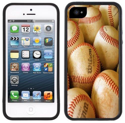 Baseballs | Handgefertigt | iPhone 5 5s | Schwarze Hülle
