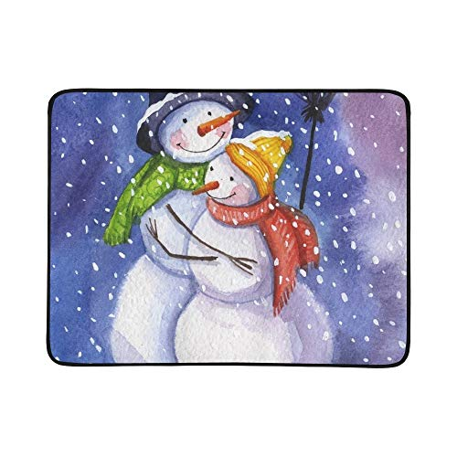 Mr Snowman Mrs Snowman Polar Lights Portable and Foldable Blanket Mat 60x78 Inch Handy Mat for Camping Picnic Beach Indoor Outdoor Travel