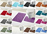 Voice7 Luxury 2 Piece CALI Circles Bath and Pedestal Mat Set - Non Slip Rubber Backing & Comfortable - Choose from 15 Stunning Colors (Teal, UK Size)