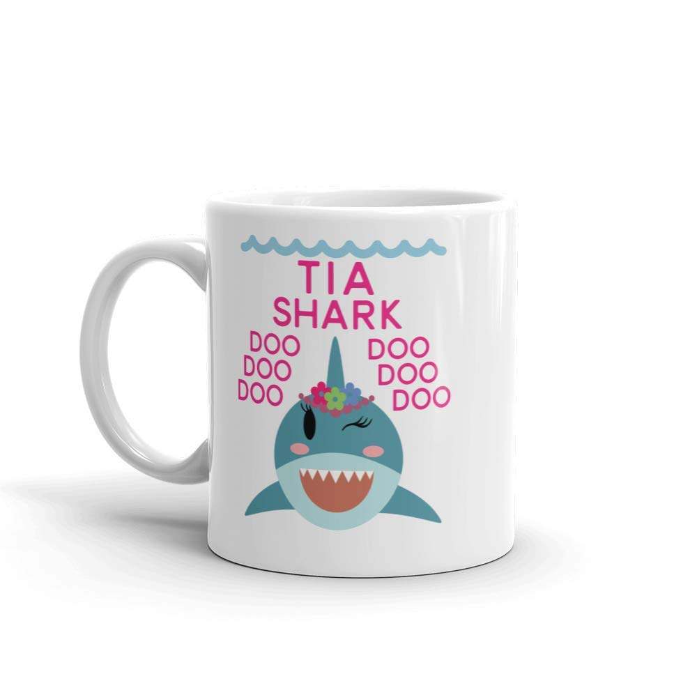 """Shark Tia"" Unique Ceramic Coffee Mug/Cup (11 oz.) — Birthday Mother's Day Christmas Gift For Mom Mother Grandma"