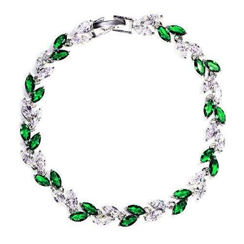 (Me&Hz Green Emerald Crystal Tennis Bracelets for Women Diamond Gemstone Zircon Bracelets with Swarovski Crystals)