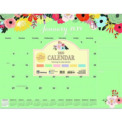 2019 Floral Desk Pad Blotter 22x17 - Monthly Desk Scenic