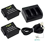 FlyHi Replacement Battery (2-Pack) & Rapid 3-Channel Charger for GoPro HERO 5, HERO5 Black (Compatible with Firmware v01.50 and v01.55)