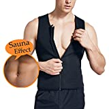 Bolkopess Mens Neoprene Sauna Waist Trainer Vest For Men Weight Loss, Hot Body Shaper Thermo Sweat Suit Slimming Corset Compression Workout Tank Top Shirt Tummy Fat Burner With Zipper Black