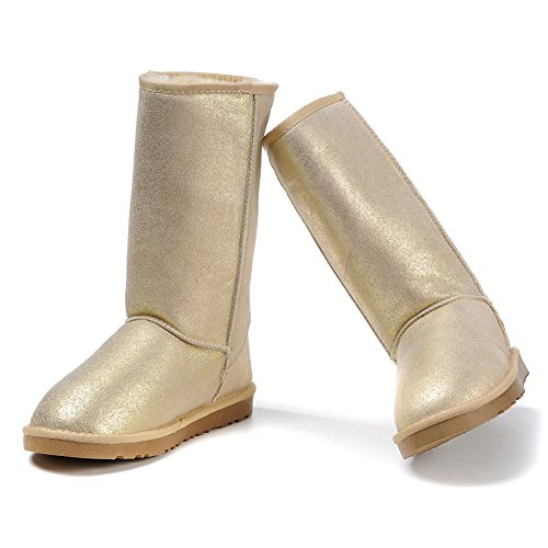 Warm Boots MILANAO Metallic Winter Leather Women Snow Gold CAqZqntpx
