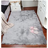 GIANCO FERRO Rectangle Sheepskin Rug Super Soft Fluffy Area Rug Vanity Chair Cover Rug/Solid Shaggy Area Rugs For Living Bedroom Floor - Grey 2ftx3ft