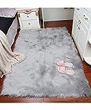 Funda silla de área alfombra Shaggy de grosor de peluche super suave de piel sintética piel de oveja almohadilla de asiento pelo alfombrilla de piso alfombra para dormitorios sala de estar HABITACIONES de niños, gris, 2ftx3ft