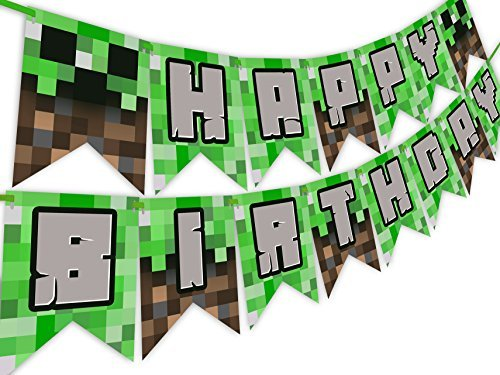 POP parties Pixel Party Happy Birthday Banner  Made in The USA