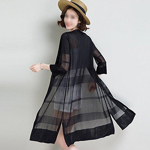 QFFL fangshaifu アイスシルクピュアカラーニットカーディガン/女性夏シンプルな超薄日保護服/ロングセクションクリエイティブな通気性日焼け止めショール(6色オプション) (色 : C, サイズ さいず : M)