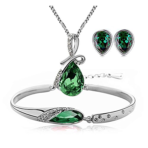 ISAACSONG.DESIGN Silver Tone Healing Crystal Rhinestone Drop Pendant Necklace, Bracelet, Earring Set for Women (Green)