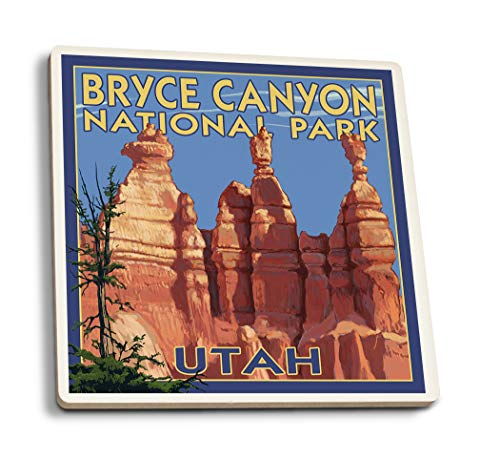 Lantern Press Bryce Canyon National Park, Utah - Summer #2 (Set of 4 Ceramic Coasters - Cork-Backed, -