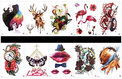 GGSELL GGSELL 10pcs tattoo deer temporary tattoos in one packages,including beautiful girs,deer,flowers with fruits,crane,warrior,clock with flowers,butterfly with flowers,lip,etc. -