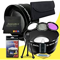 40.5mm Wide Angle + 2x Telephoto Lenses + 3 Piece Filter Kit for Sony Alpha NEX-5N with Sony 16-50mm Retractable Zoom Lens + DavisMAX Fibercloth Deluxe Lens Bundle
