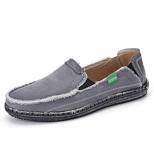 L-RUN Men's Cloth Shoes Slip-On Canvas Loafers Outdoor Leisure Walking (8 D(M) US, Grey)