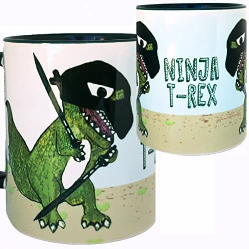 Ninja T-Rex Dinosaur Martial Arts Mug by Pithitude - One Single 11oz. Green Coffee Cup