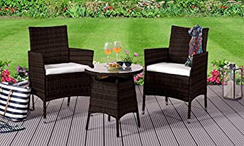 Amazonde Bequemer Living 3 Rattan Bistro Gartenmöbel Set