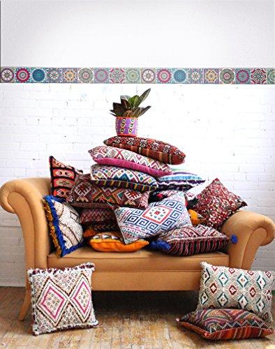 BRIKETO Mandala Decorative Border Tile Stickers Set 6 Units 1.5 feet Long Each. Peel & Stick Adhesive Vinyl Border Tiles. Backsplash Contour Detail. Home & Furniture Decor. Mirror Decor.