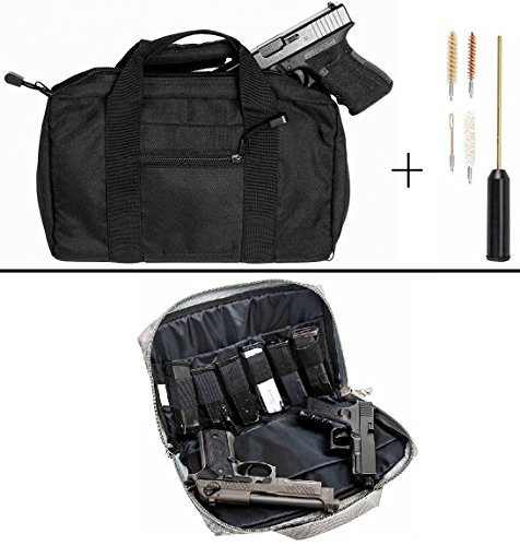 Ultimate Arms Gear Stealth Black Hi Point Hi-Point 9mm .22 .357 Sig 38 Special .40 S&W .45 ACP GAP Discreet Dual Tactical Hand Gun Handgun Revolver Case Bag Rag Holds 2 Pistols with 6 Interior Double Stack Single Mag Magazine Pockets and Carry Handle + Compact Pocket Sized Travelling Cleaning Kit