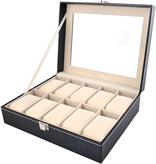 ISO TRADE Caja para 10 de Relojes Organizador de Relojes Caja relojero Estuche relojero para almacenar Relojes, Negro 1369: Amazon.es: Hogar