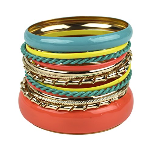 Lux Accessories Synthetic Turquoise Yellow Textured Mixed Metal Enamel Multiple Bangle Bracelet Set (Yellow Enamel Bangle)