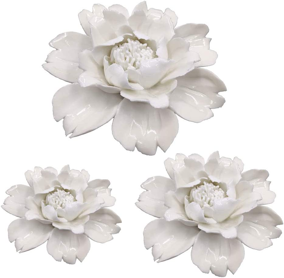 3 Pack White Peony Handmade 3D Ceramic Flower Wall Décor Pediments Wall Art for Living Room Home Hallway Bedroom Kitchen Farmhouse Bathroom Dining Room, Porcelain Flower Wall Decor