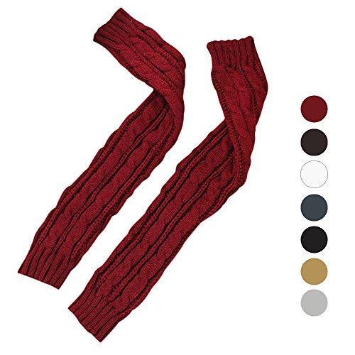DEESEETM-Womens-Hemp-Flowers-Arm-Warmers-Fingerless-Knitted-Long-Gloves-Mittens
