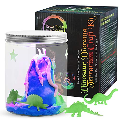 Brass Tacks Glow in The Dark Dinosaur Diorama Terrarium Craft Kit with Foam Clay, Dinosaurs, and Black Light Included Make Your Own Dinosaur Nightlight Craft Kit for Kids (Dinosaur)