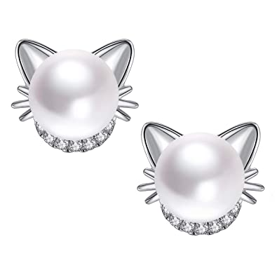 85e7bf1b4 925 Sterling Silver Cute Cat Earrings Cubic Zirconia and Freshwater  Cultured Pearl Stud Earrings for Girls
